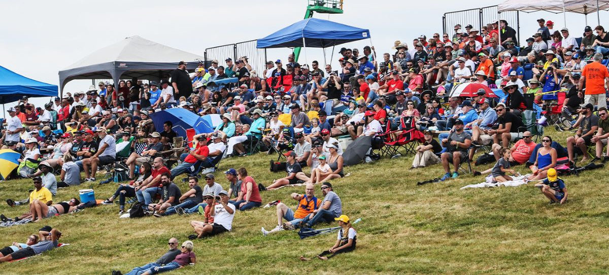 Fans at the MotoAmerica event at Pittsburgh International Race Complex in 2019. Photo by Brian J. Nelson, courtesy of MotoAmerica.