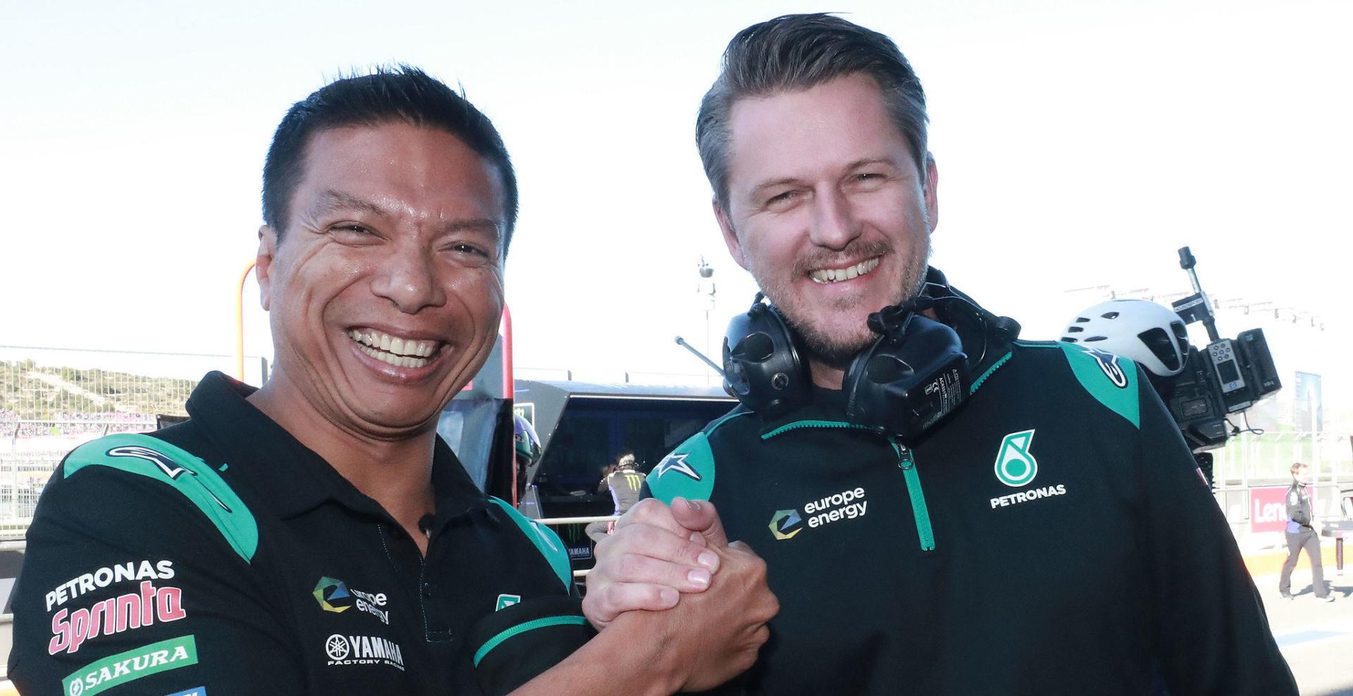 PETRONAS Yamaha Sepang Racing Team Principal Razlan Razali (left) and Team Director Johan Stigefelt (right). Photo courtesy of PETRONAS Yamaha SRT.