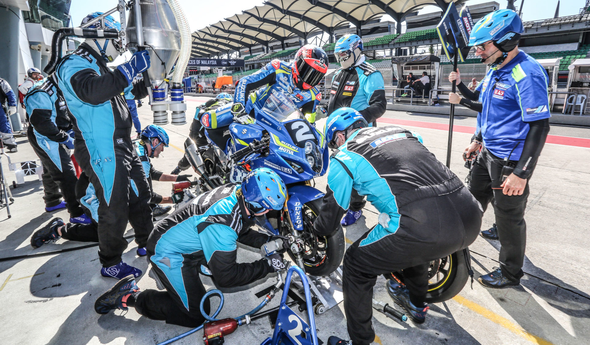 Suzuki Endurance Racing Team (SERT) leads the 2019-2020 FIM Endurance World Championship after the first two rounds. Photo courtesy of Team Suzuki Press Office.