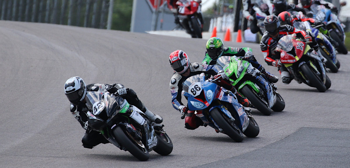 Kenny Riedmann (42), 2019 Canadian Superbike champion Ben Young (86), Jordan Szoke (1), and Samuel Trepanier (14) in action during the 2019 season. Photo by Rob O'Brien, courtesy of CSBK.