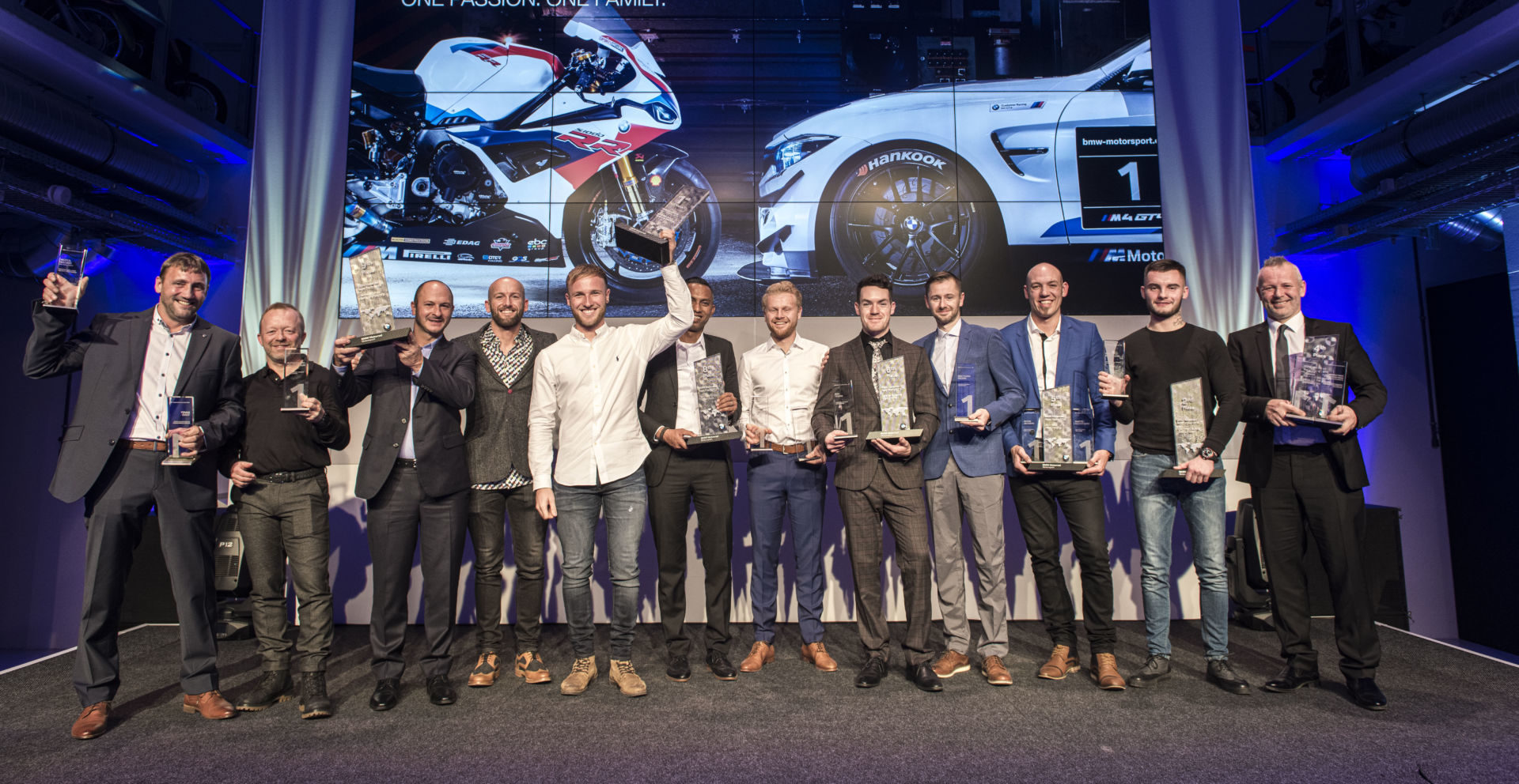 2019 BMW Motorrad Race Trophy top-10 finishers, including winner Davey Todd (fifth from left) and Canadian Superbike Champion Ben Young (fifth from right), on stage in Munich. Photo courtesy of BMW Motorrad Motorsport.