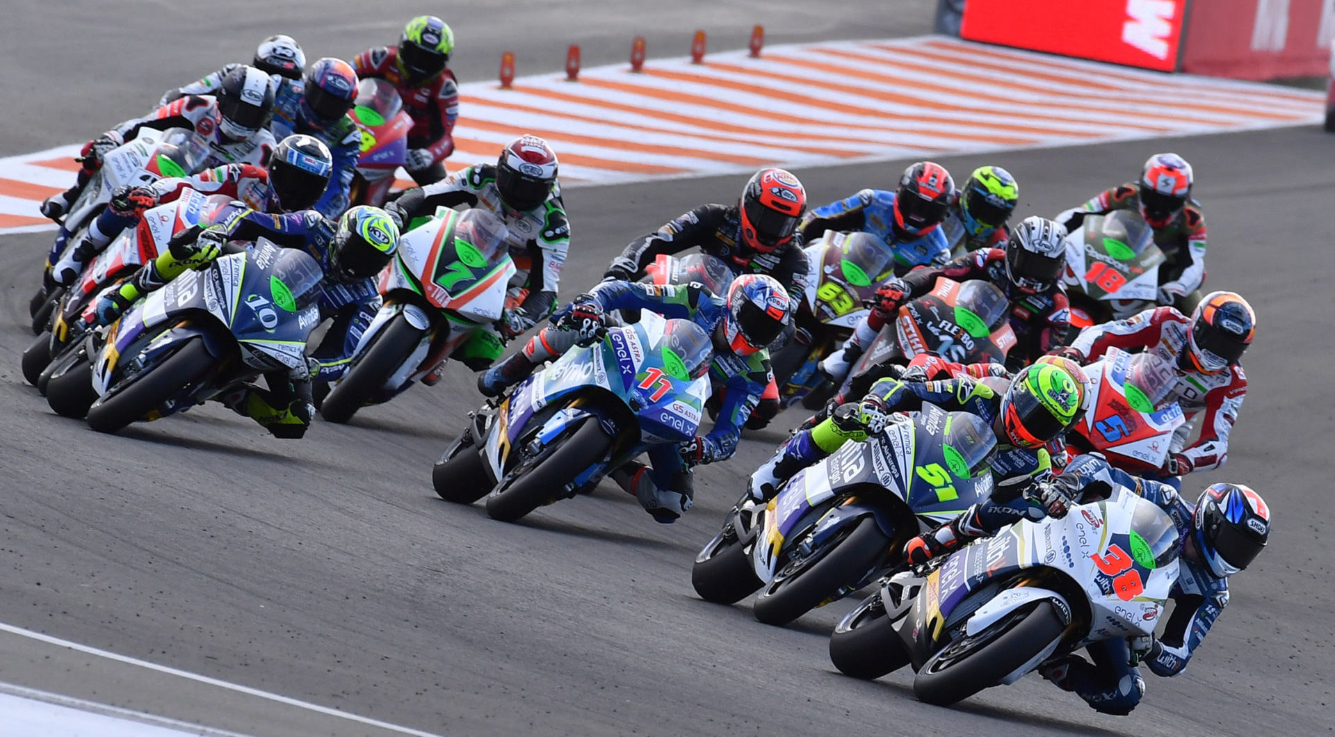 Action from the 2019 MotoE World Cup finale at Valencia. Photo courtesy of Dorna.