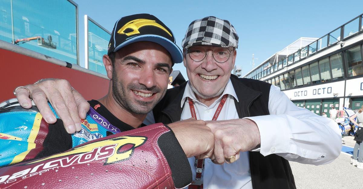 Mike di Meglio (left) with Team Owner Marc Van Der Straten (right). Photo courtesy of Team Estrella Galicia 0,0 Marc VDS.