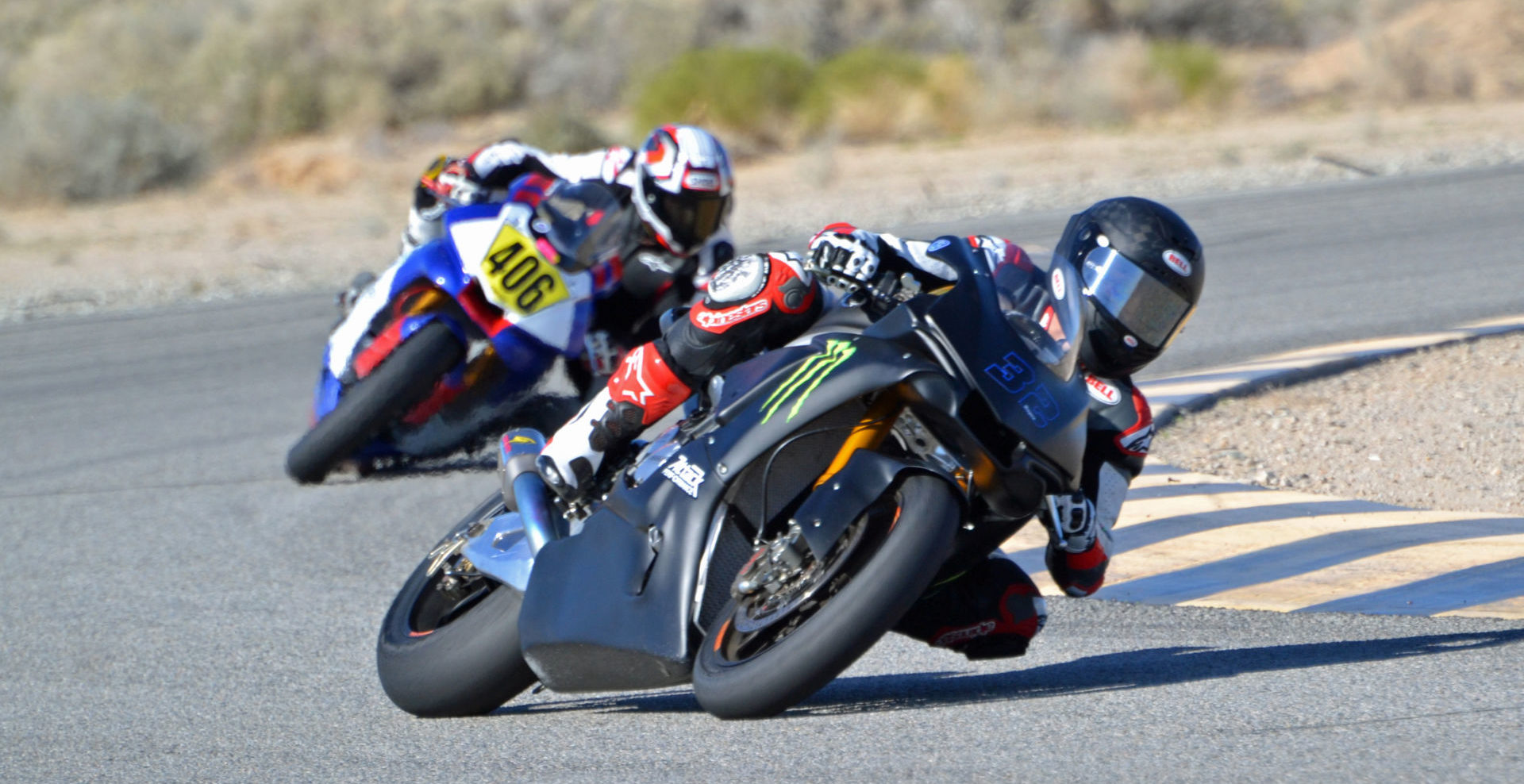 Jake Gagne (32) testing a Monster Energy Attack Performance Yamaha Racing YZF-R1 Superbike during a motorcycle members track day Monday at Chuckwalla Valley Raceway. Photo by David Swarts.