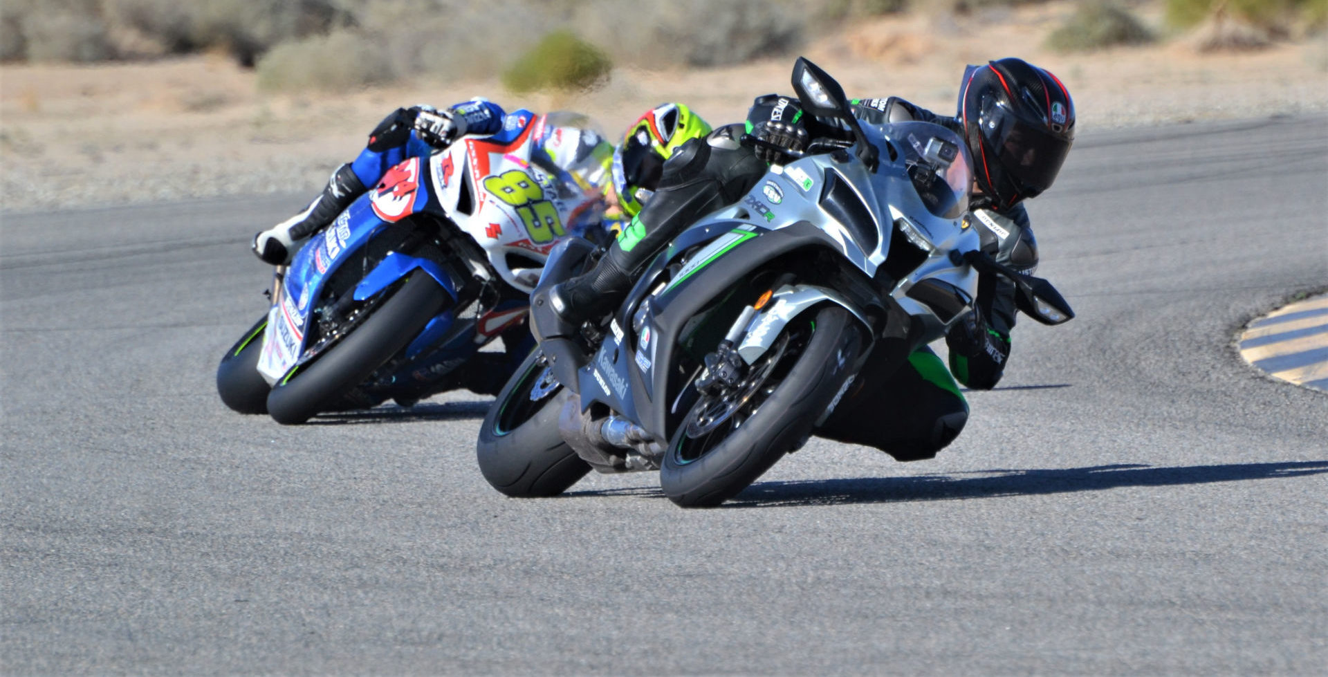 JP43training.com's Jason Pridmore, seen here working with 2019 MotoAmerica Twins Cup Champion Alex Dumas (85), is holding two events at Chuckwalla Valley Raceway in January. Photo by David Swarts.