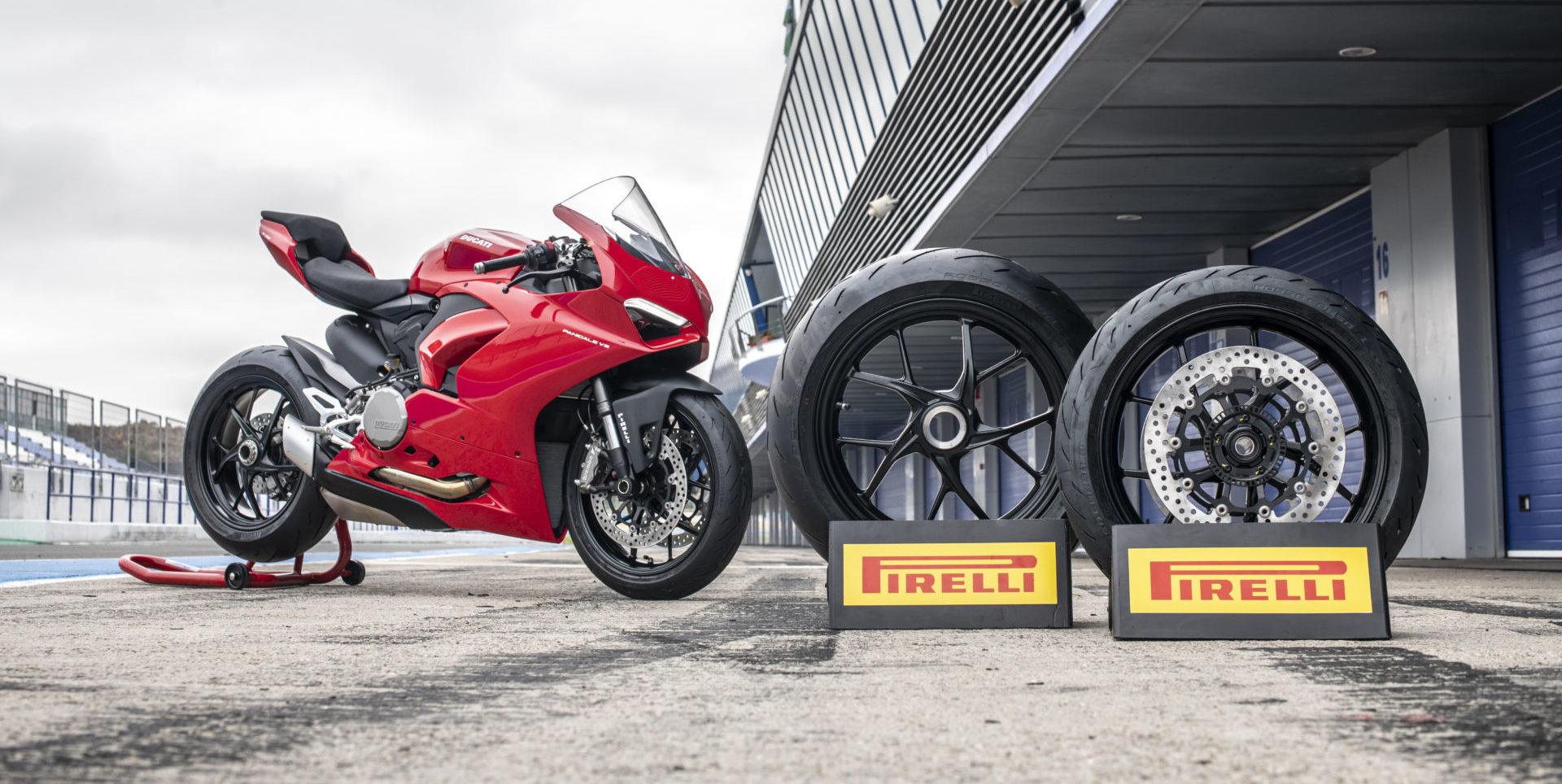 A 2020 Ducati Panigale V2 and Pirelli Diablo Rosso Corsa II tires. Photo courtesy of Pirelli.