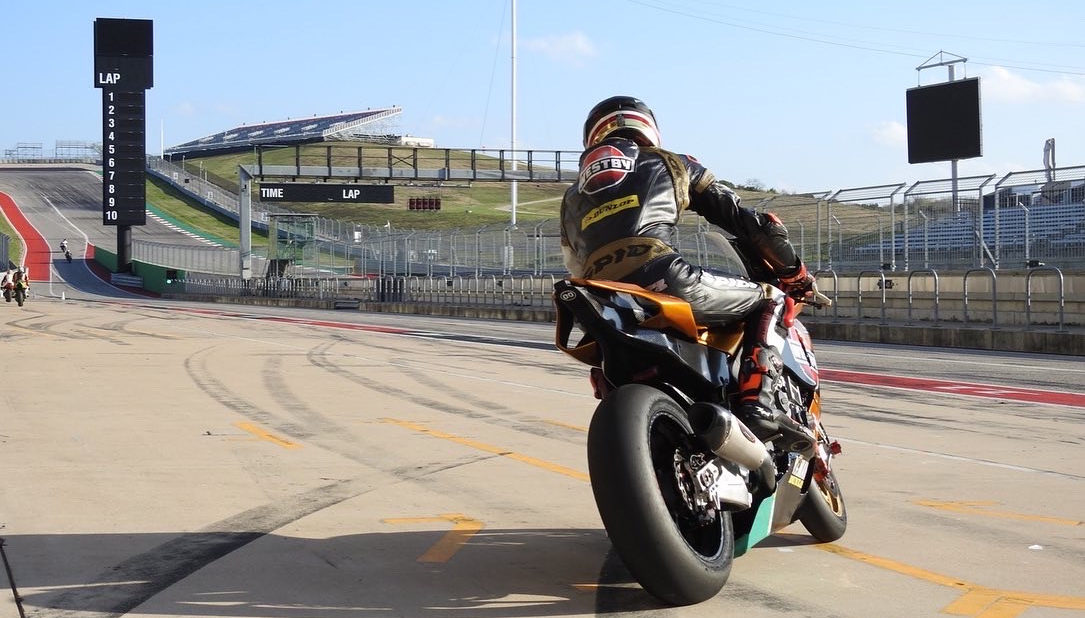 Mathew Scholtz heading out on track on his Westby Racing Yamaha YZF-R1 Superbike at Circuit of The Americas. Photo by Alonzo Contreras, courtesy of Westby Racing.