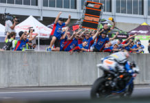 Team Hammer celebrates Bobby Fong winning the 2019 MotoAmerica Supersport Championship at Barber Motorsports Park. Photo by Brian J. Nelson.