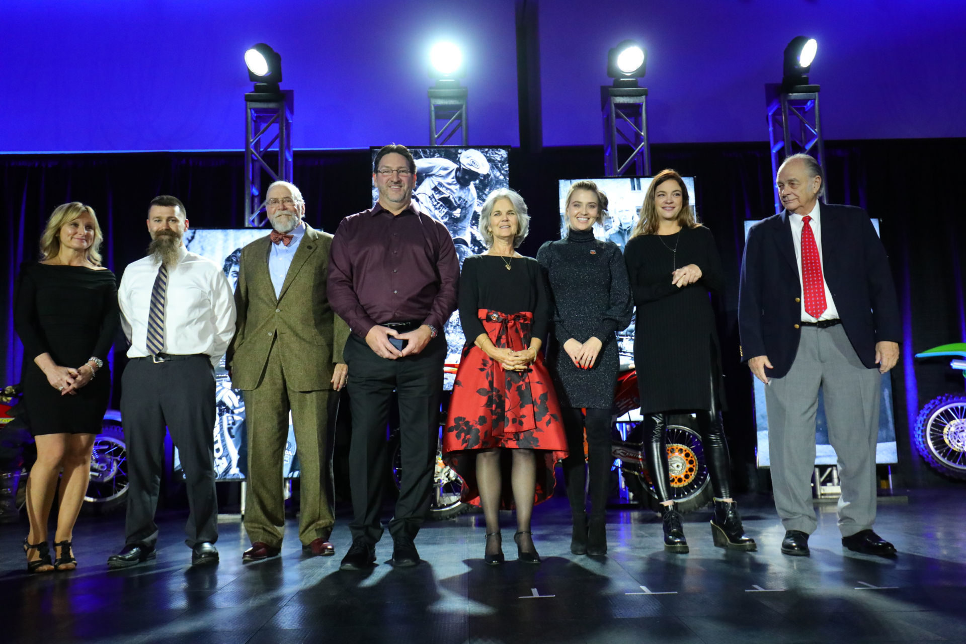 AMA Motorcycle Hall of Fame Class of 2019 (left to right): Trish Walksler and Matt Walksler, who accepted for Dale Walksler; former AMA Board of Directors chair Rick Gray, who accepted for Mark Buckner; Ron Lechien; Nancy Caselli and Sarah White, who accepted for the late Kurt Caselli; and Belen Wagner accompanying her father Wiltz Wagner. Photo by Jeff Kardas, courtesy of AMA.