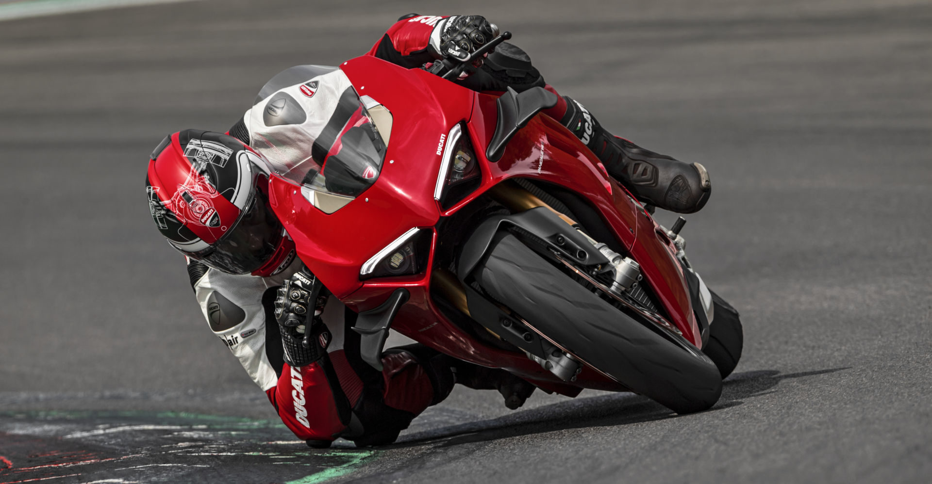 A 2020 Ducati Panigale V4 at speed. Photo courtesy of Ducati.