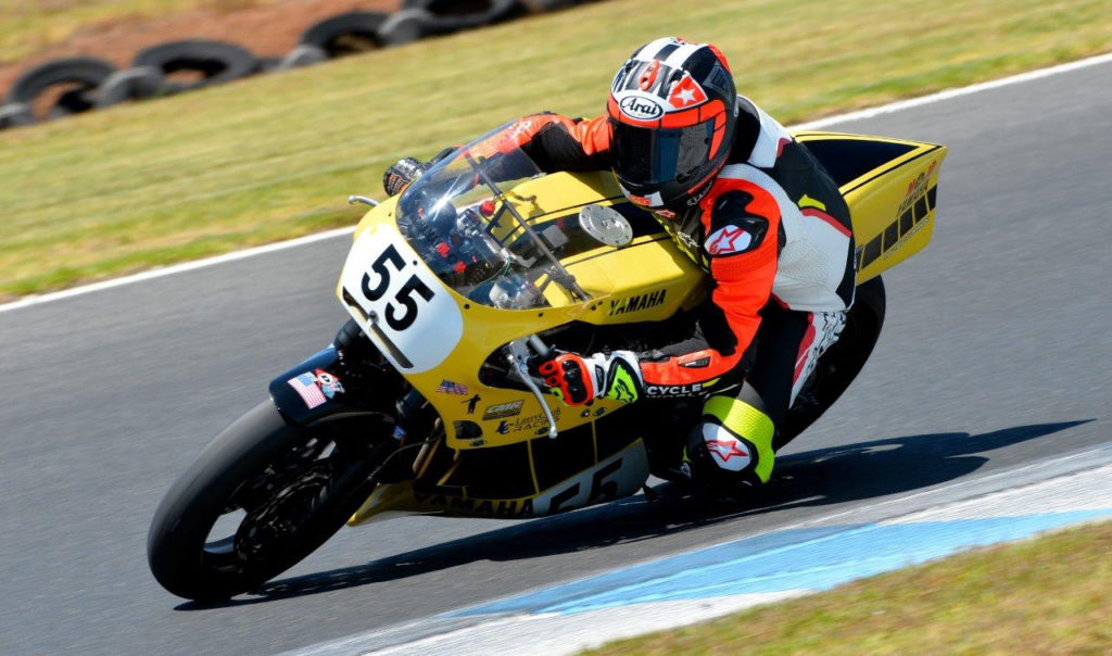 Michael Gilbert (55). Photo by Russell Colvin, courtesy of Phillip Island Grand Prix Circuit.