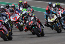 The start of the MotoE World Cup race at Sachsenring. Photo courtesy of Dorna.