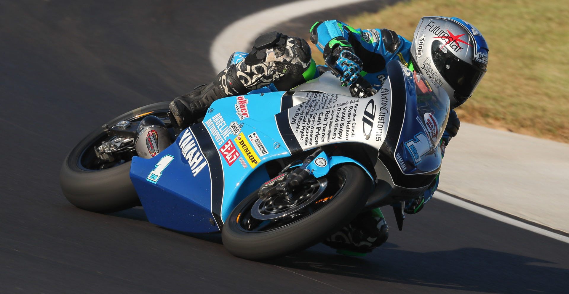 Chris Parrish (1) riding an AP MotoArts Yamaha FZ-07/MT-07 during the 2019 MotoAmerica Twins Cup finale at Barber Motorsports Park. Photo by Brian J. Nelson, courtesy of AP MotoArts.
