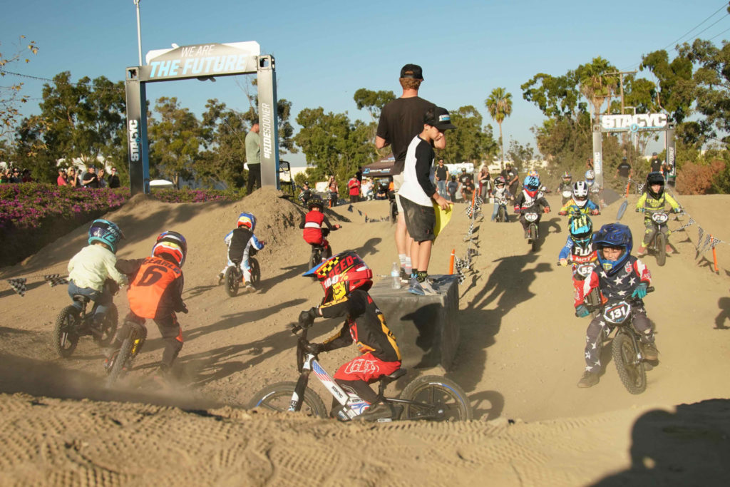 The Super-Grom Challenge Race at Fox Racing's HQ in Southern California. Over 150 racers and 700 people attended the first-ever all-STACYC race. Photo courtesy of STACYC.