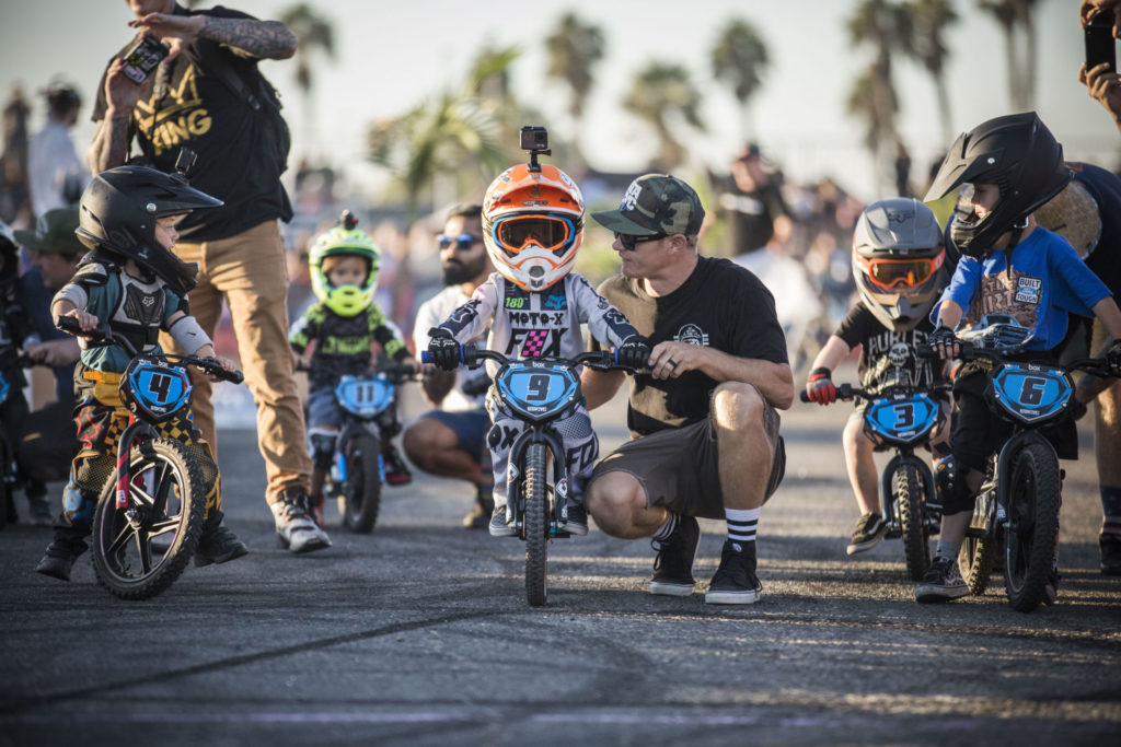 STACYC race staging at the Moto Beach Classic, the final stop of the Roland Sands Designs, Super Hooligan Flat Track race series. Photo courtesy of STACYC.