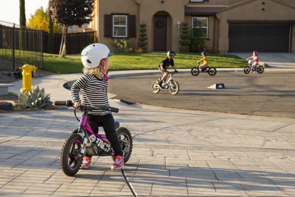 STACYC bikes are built for fun everywhere, and kids take over their neighborhood. Every STACYC is quiet and non-intimidating, allowing it to be ridden anywhere! Photo courtesy of STACYC.