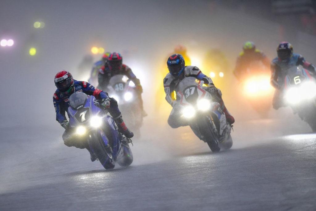 YART – Yamaha (7) leading a group of riders in the rain at Sepang. Photo courtesy of Yamaha.