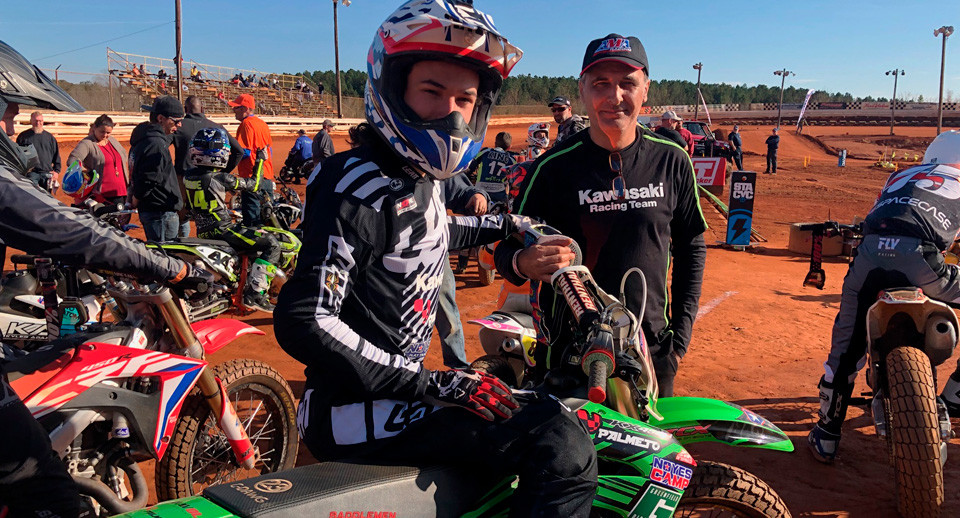 Ferran Sastre (left) with his father Josep Sastre (right) at Travelers Rest Speedway. Photo courtesy of DTRA/NoyesCamp.com.