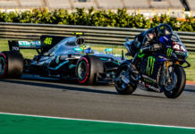 Formula One race car driver Lewis Hamilton (44) on a Monster Energy Yamaha YZR-M1 MotoGP racebike and MotoGP racer Valentino Rossi (46) in a Mercedes-AMG F1 W08 EQ Power+ Formula One race car at Valencia. Photo courtesy of Monster Energy Yamaha.