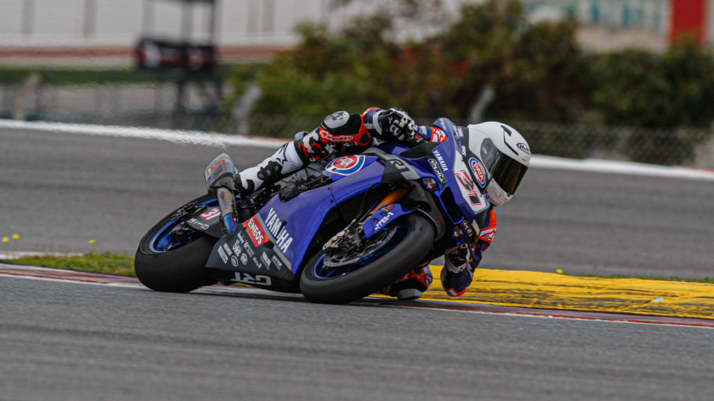 American Garrett Gerloff (31) put in another impressive performance on his GRT Yamaha WorldSBK Junior Team, outpacing more experienced riders while learning the challenging Portuguese racetrack for the first time. Photo courtesy of Dorna WorldSBK Press Office.