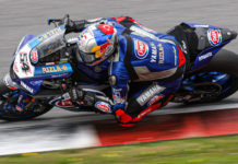 Pata Yamaha's Toprak Razgatlioglu (54) at speed in Portugal. Photo courtesy of Dorna WorldSBK Press Office.