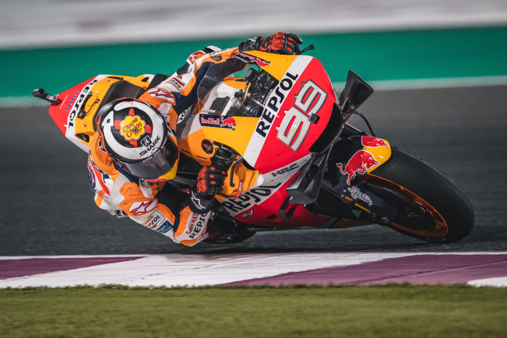 Jorge Lorenzo (99) in action at Losail International Circuit, in Qatar, where he finished 13th in his debut as a Repsol Honda rider. Photo courtesy of Repsol Honda.
