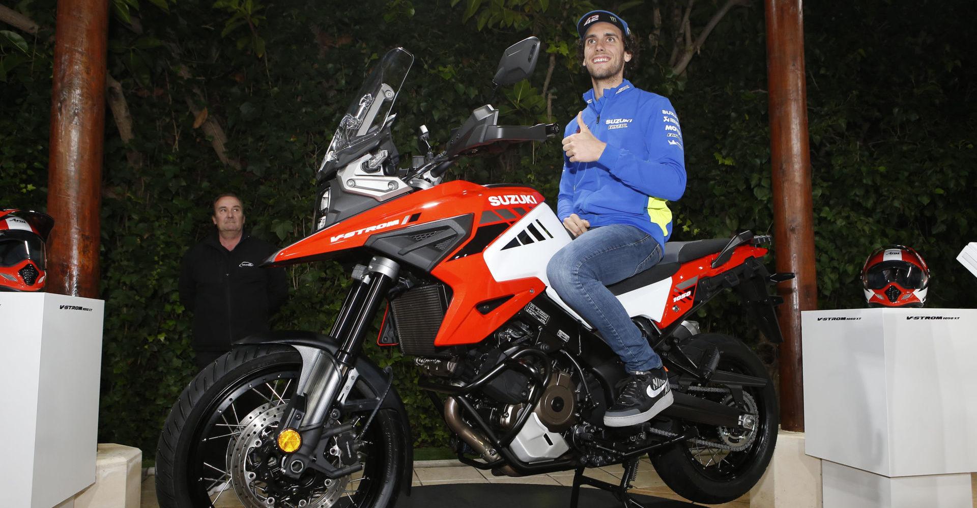 Alex Rins poses on a Suzuki V-STROM 1050. Photo courtesy of Team Suzuki Press Office.