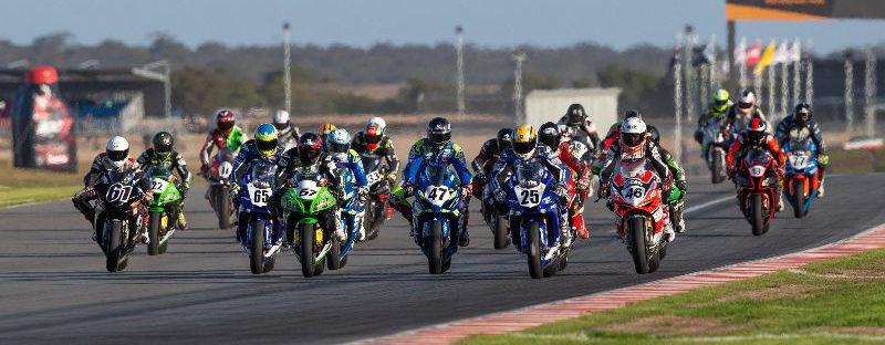 The start of an Australia Superbike race during the 2019 season. Photo by Andrew Gosling/TBG Sport, courtesy of Motorcycling Australia.