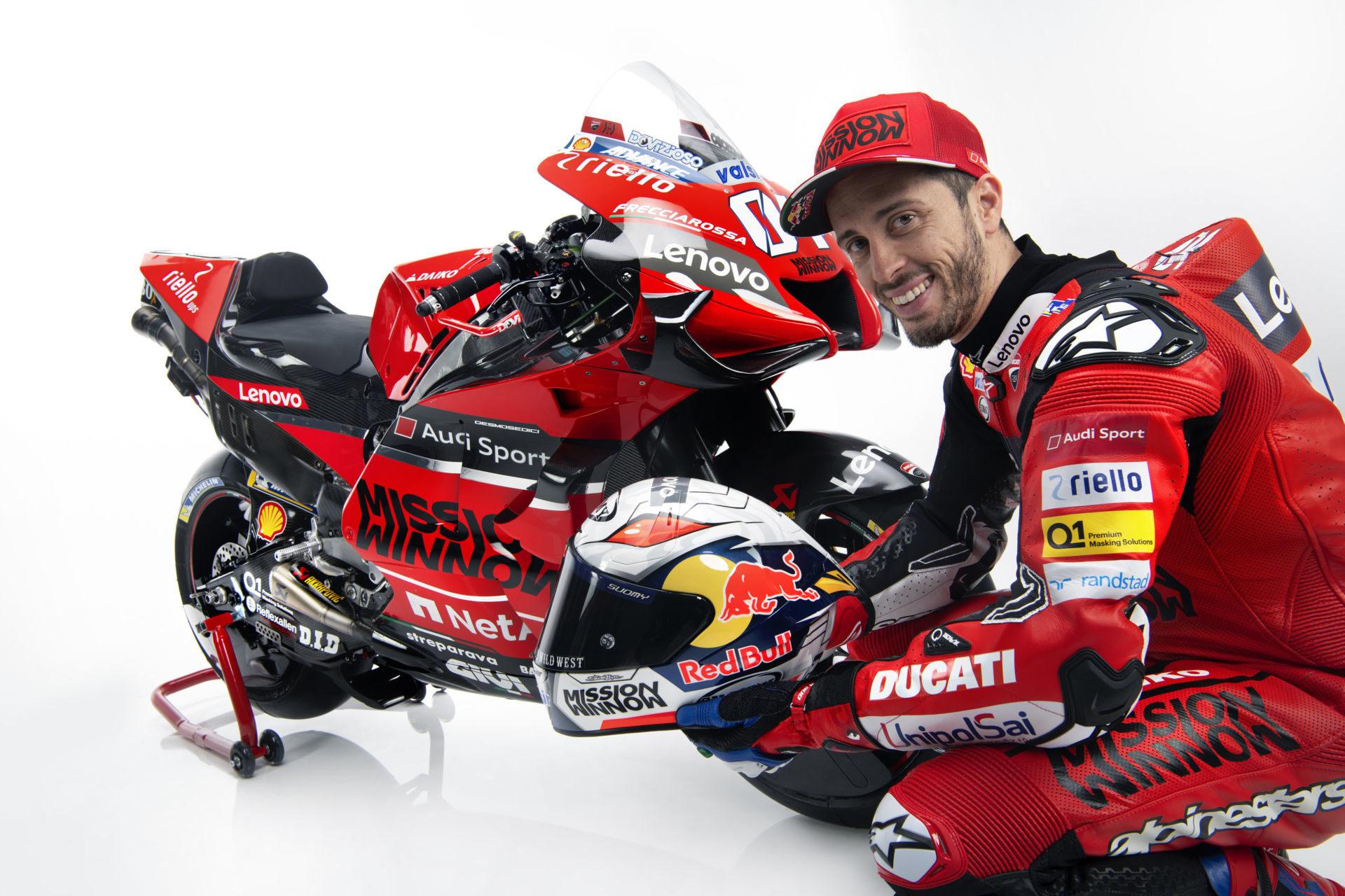 Andrea Dovizioso with his 2020 Mission Winnow Ducati Desmosedici GP20 MotoGP racebike. Photo courtesy of Ducati.
