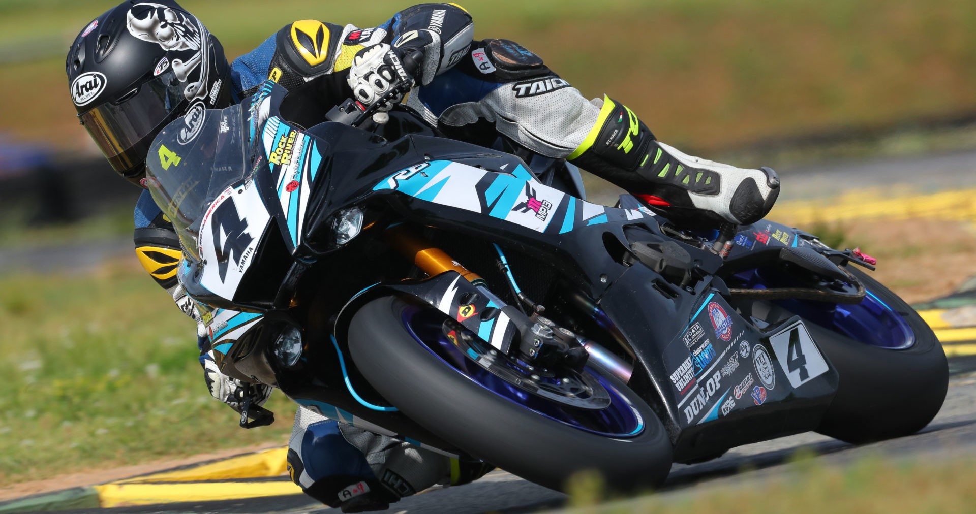 Josh Hayes (4) at speed on his MP13 Racing Yamaha YZF-R6. Photo by Brian J. Nelson.