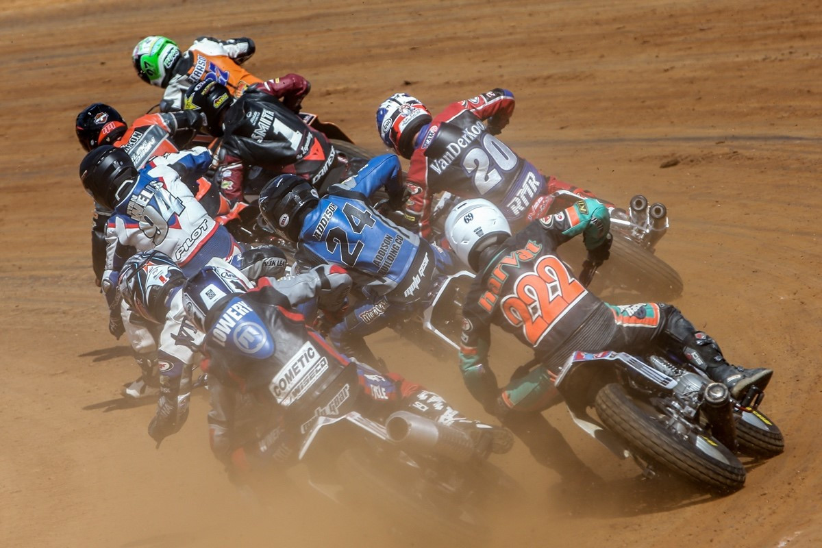 Flat track riders in action. Photo by Scott Hunter, courtesy of AFT.