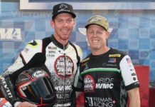 Corey Alexander (left) and his uncle Richie Alexander (right). Photo by Brian J. Nelson, courtesy of RideHVMC Racing Team.