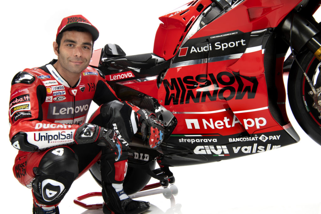 Danilo Petrucci with his 2020 Mission Winnow Ducati Desmosedici GP20 MotoGP racebike. Photo courtesy of Ducati.