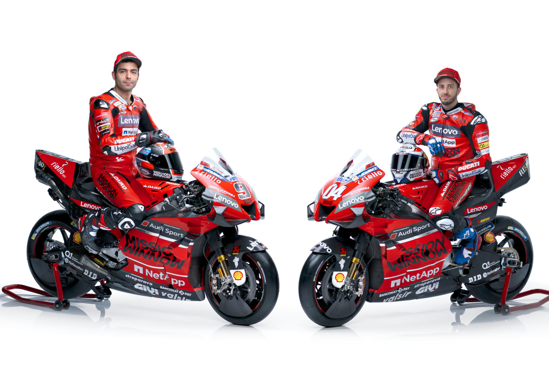 Danilo Petrucci (left) and Andrea Dovizioso (right) on their 2020 Mission Winnow Ducati Desmosedici GP20 MotoGP racebikes. Photo courtesy of Ducati.