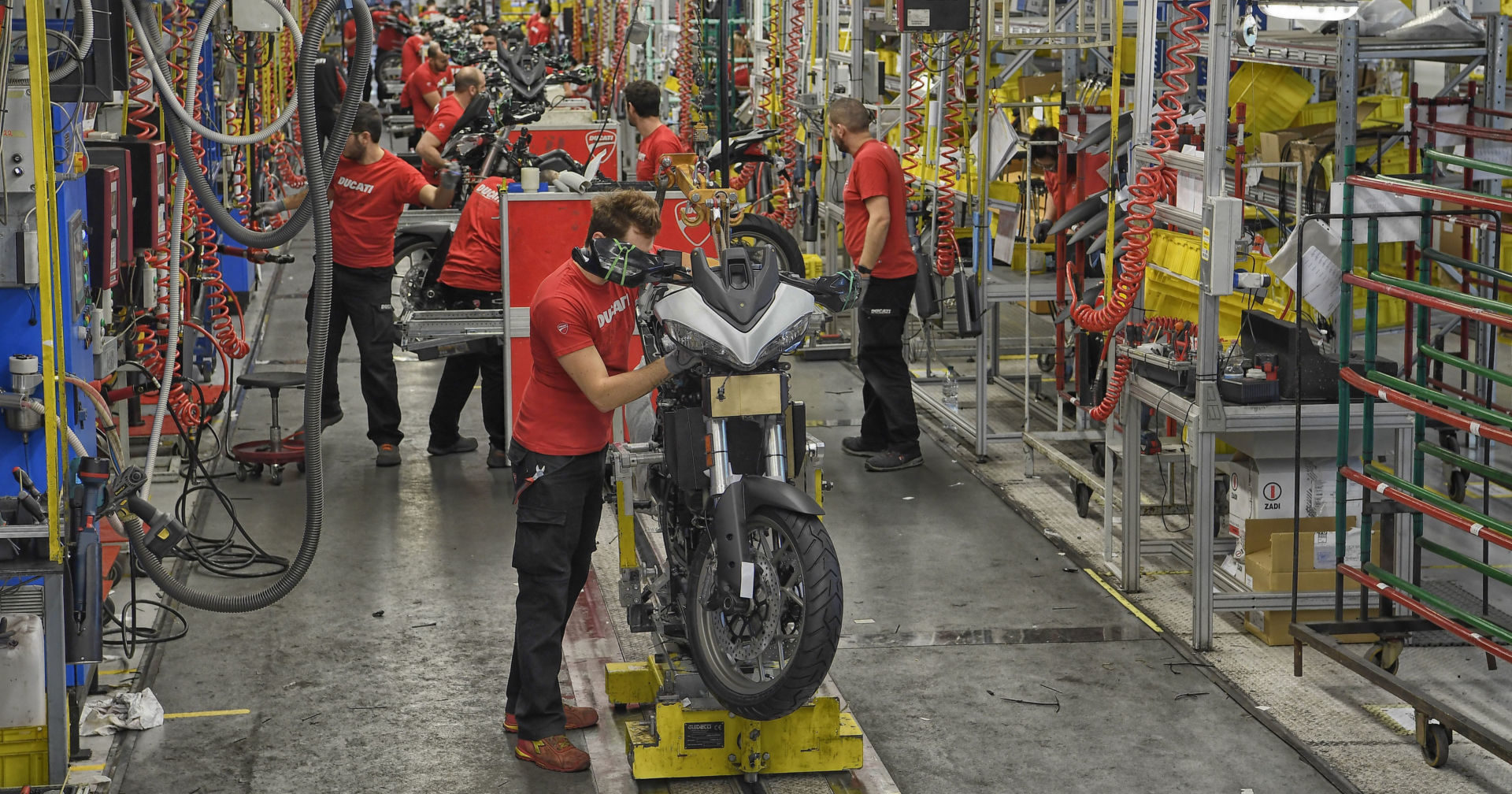 Ducati workers on the Multistrada assembly line in Italy. Photo courtesy of Ducati.