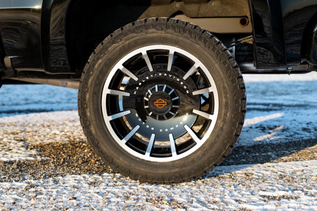 A 2020 Harley-Davidson Edition GMC Sierra pickup truck 22-inch wheel. Photo courtesy of Harley-Davidson.