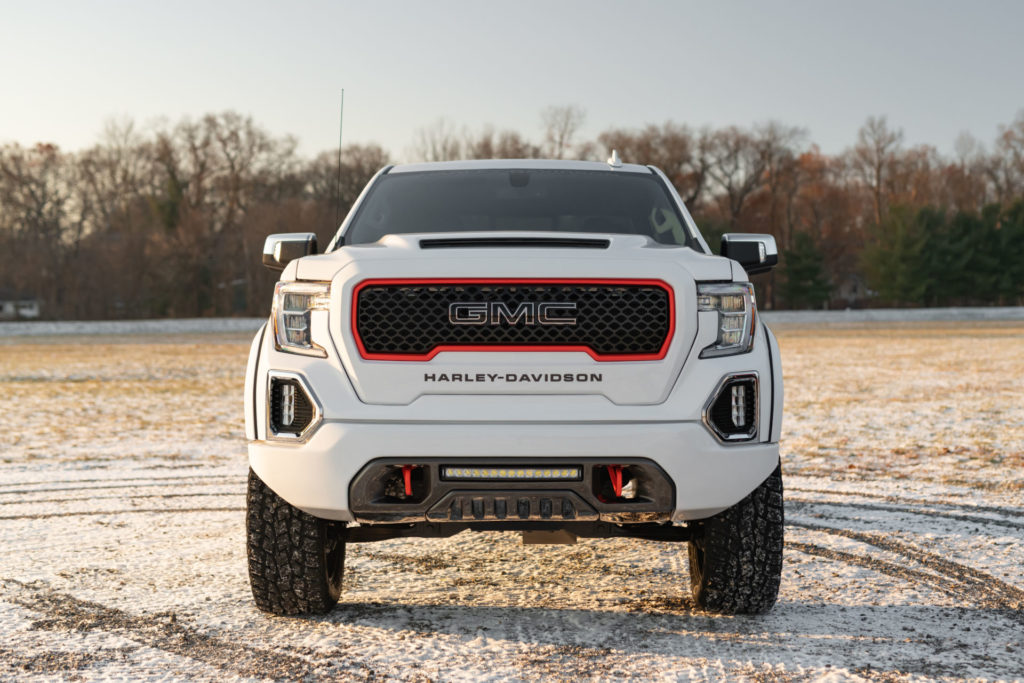 The front end of a 2020 Harley-Davidson Edition GMC Sierra pickup truck. Photo courtesy of Harley-Davidson.