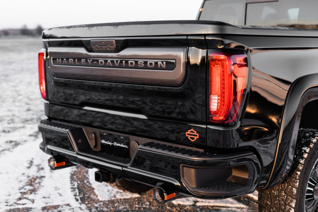 The tail end of a 2020 Harley-Davidson Edition GMC Sierra pickup truck. Photo courtesy of Harley-Davidson.