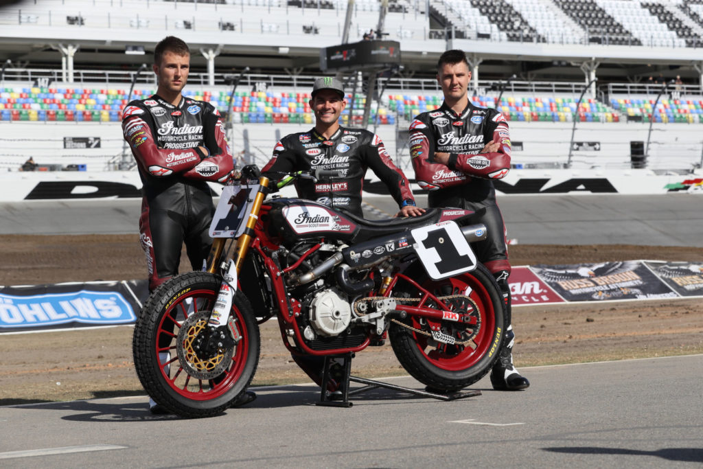Briar Bauman (left), Jared Mees (center), and Bronson Bauman (right). Photo courtesy of Indian Motorcycle.