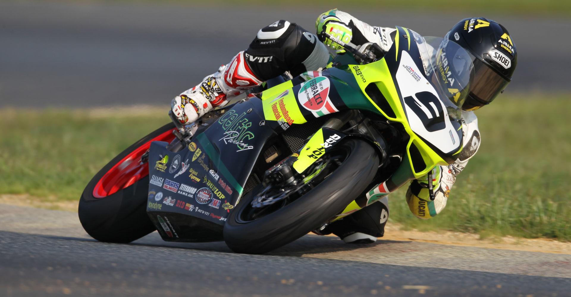 PJ Jacobsen (9) riding a Celtic Racing/Fast by Ferracci Ducati 848evo in the 2011 AMA Pro Daytona SportBike Championship. Photo by Brian J. Nelson.