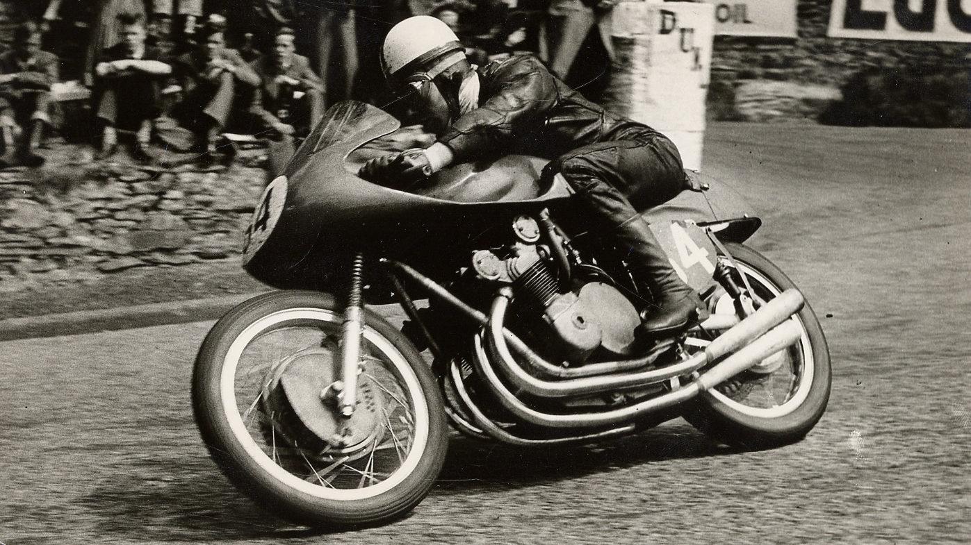 John Surtees racing an MV Agusta grand prix machine. Photo courtesy of MV Agusta.