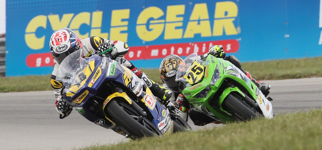 MotoAmerica Junior Cup racers, like Kevin Olmedo (14) and Dominic Doyle (25), can earn up to $2,500 from Kawasaki's Team Green program for each race win on a Kawasaki Ninja 400 during the 2020 season. Photo by Brian J. Nelson.