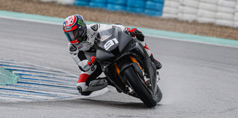 Honda's Leon Haslam (91) at speed on a wet track in Spain. Photo courtesy of Dorna World SBK Press Office.