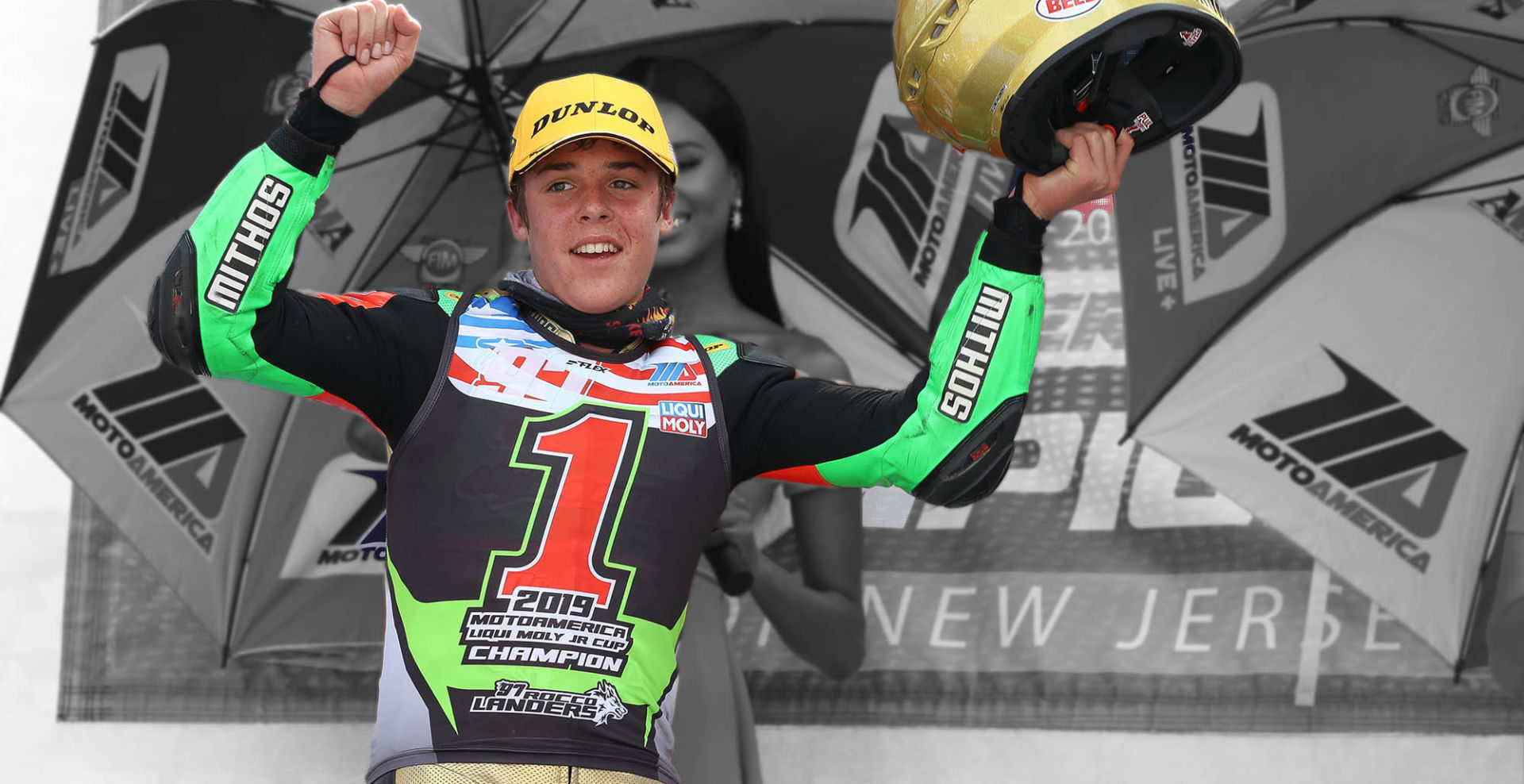 Mithos-sponsored Rocco Landers, the 2019 MotoAmerica Junior Cup Champion. Photo by Brian J. Nelson, courtesy of Mithos USA.