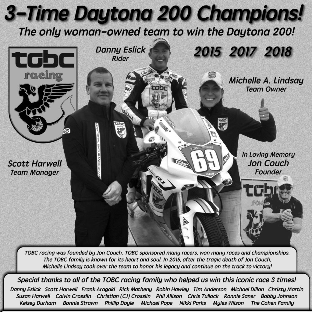 The plaque that will be placed on the Daytona 200 Memorial to honor TOBC Racing, Michelle Lindsay, and Danny Eslick. Photo courtesy of Roger Lyle and Joan Erdesky.