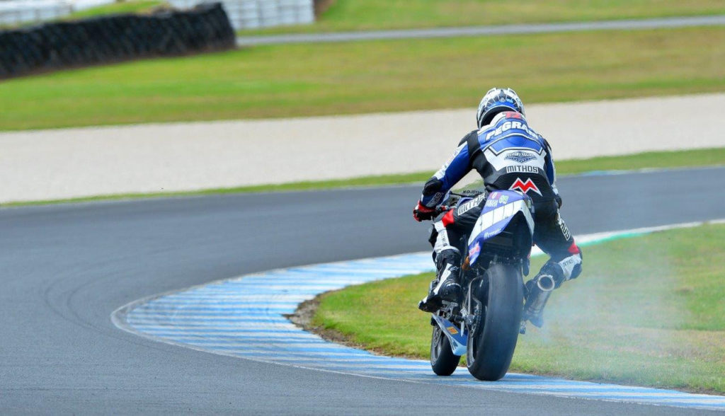 Larry Pegram's bike suffered a mechanical problem in the closing minutes of the second qualifying session. Photo by Russell Colvin, courtesy of Phillip Island.