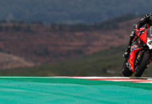 Scott Redding (45) at speed in Portugal. Photo courtesy of Dorna WorldSBK Press Office.