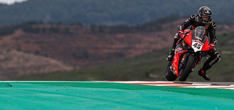 Scott Redding (45) at speed in Portugal. Photo courtesy of Dorna WorldSBK Press Office.