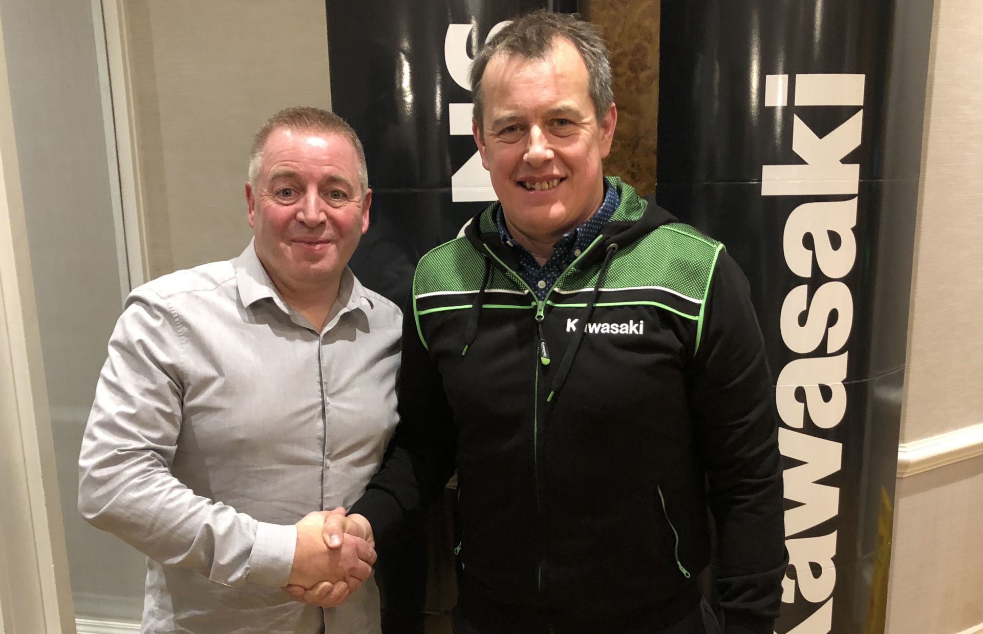Quattro Plant Bournemouth Kawasaki Team Owner Pete Extance (left) and John McGuinness (right). Photo courtesy of Kawasaki Motors UK.