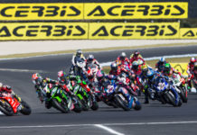 The start of a World Superbike race at Phillip Island in 2019. Photo courtesy of Dorna WorldSBK Press Office.